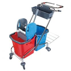 vozík kovový, kbelík 2X25 l, plastový ždímač,miska, držák na pytel