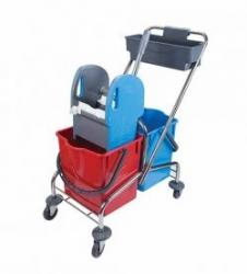 vozík kovový, kbelík 2x18l, plastový ždímač, miska