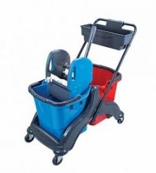 vozík plastový MIMOZA, kbelík 2x25l, ždímač, miska
