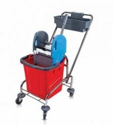 vozík chrom TROLLEY, kbelík 1x25l, plastový ždímač