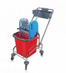 vozík chrom TROLLEY, kbelík 1x25l, kovový ždímač