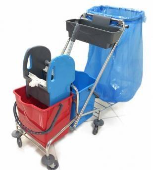 vozík kovový, kbelík 2x18l, plastový ždímač, miska, držák na pytel