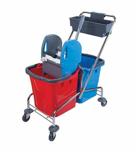 vozík kovový, kbelík 2X25 l, plastový ždímač, miska