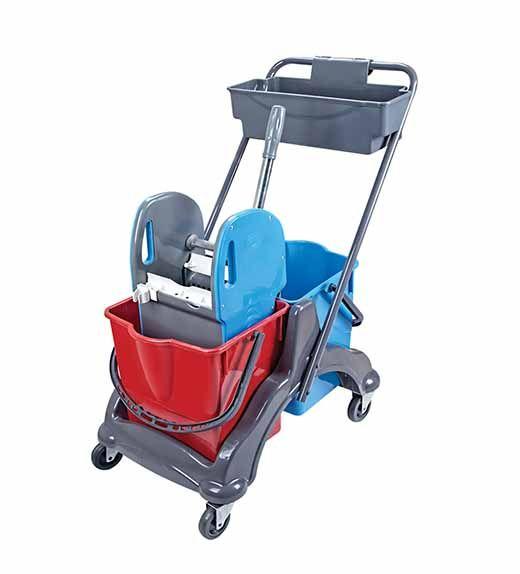 vozík plastový MIMOZA, kbelík 2x18l, ždímač, miska