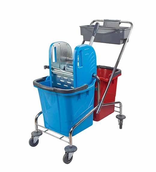 vozík Trolley kbelík 2X25 l, kovový ždímač, miska