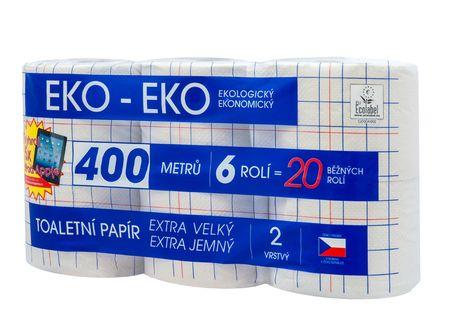 toaletní papír EKO - EKO, 2 vrstvý, 6 rolí, návin 67 m/ks, 6 bal./pytel