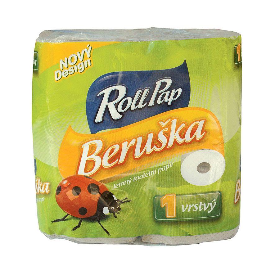 toaletní papír Beruška 20m, 1 vrstvý, 4 role/ks., návin 20m/rol., 16 bal./pytel
